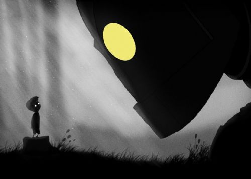 1990's Movie - THE IRON GIANT - MEETING BLACKOUT canvas print - self adhesive poster - photo print